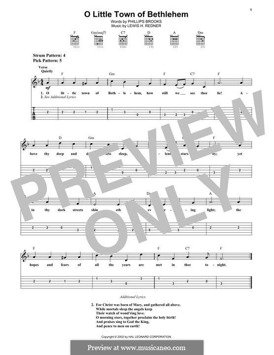 О малый город Вифлеем: Гитарная табулатура by Льюис Генри Реднер