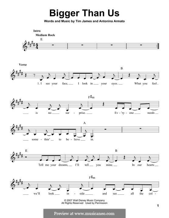 Bigger Than Us (Hannah Montana): Мелодия by Antonina Armato, Timothy James