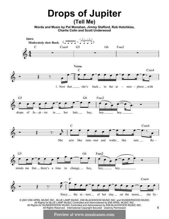 Drops of Jupiter / Tell Me (Train): Мелодия by Charlie Colin, Jimmy Stafford, Patrick Monahan, Rob Hotchkiss, Scott Underwood