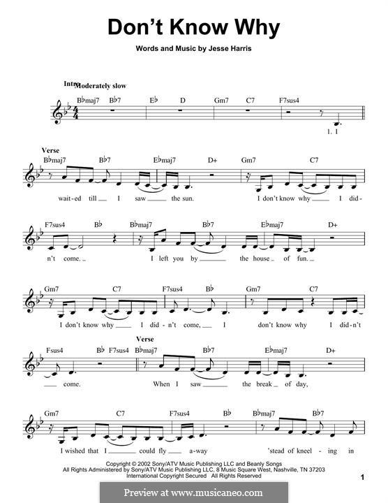 Don't Know Why (Norah Jones): Мелодия by Jesse Harris
