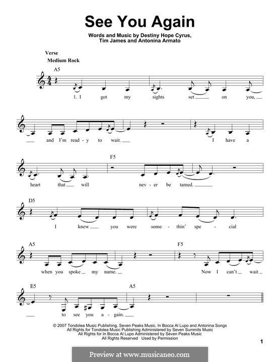 See You Again (Hannah Montana): Мелодия by Antonina Armato, Destiny Hope Cyrus, Timothy James