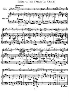 Соната No.11: Аранжировка для скрипки и фортепиано – партитура, сольная партия by Арканджело Корелли