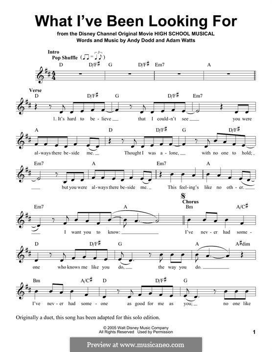 What I've Been Looking for (High School Musical): Мелодия by Adam Watts, Andrew Dodd