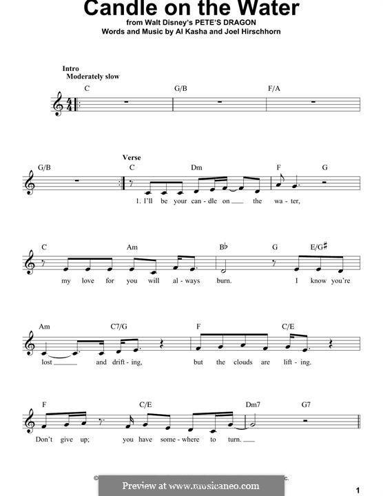 Candle on the Water (from Walt Disney's Pete's Dragon): Мелодия by Al Kasha, Joel Hirschhorn