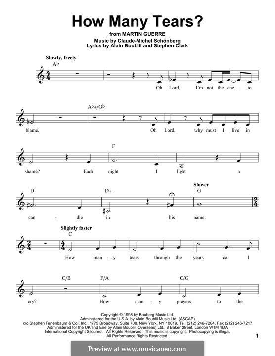 How Many Tears?: Мелодия by Claude-Michel Schönberg
