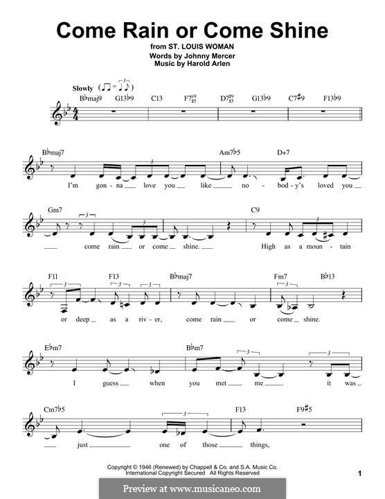 Come Rain or Come Shine: Мелодия by Harold Arlen