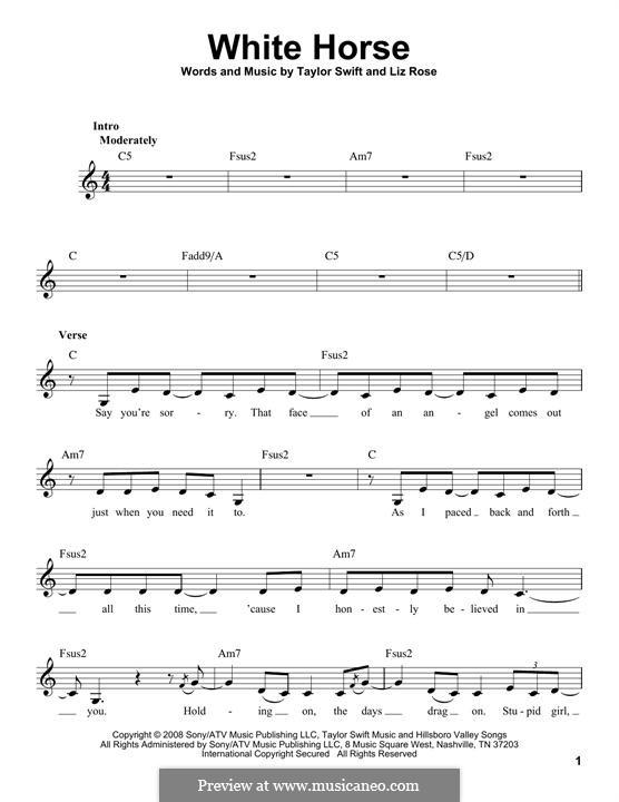 White Horse (Taylor Swift): Мелодия by Liz Rose