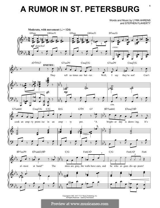 A Rumor in St. Petersburg: Для голоса и фортепиано by Lynn Ahrens, Stephen Flaherty