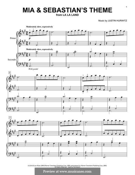 Mia and Sebastian's Theme (from La La Land): Для фортепиано в 4 руки by Justin Hurwitz