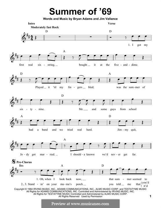Summer of '69: Мелодия by Bryan Adams, Jim Vallance