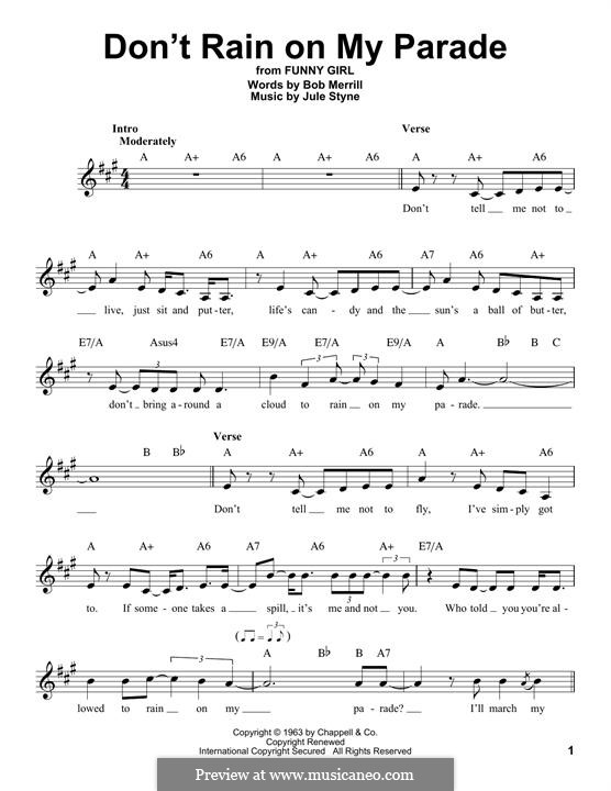 Don't Rain on My Parade: Мелодия by Jule Styne