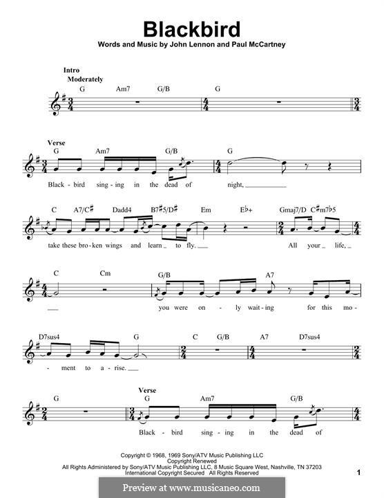 Blackbird (The Beatles): Мелодия by John Lennon, Paul McCartney