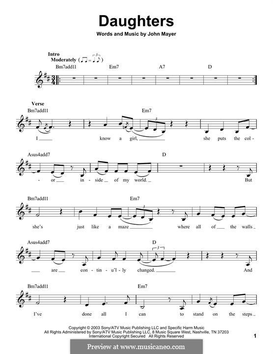Daughters: Мелодия by John Mayer