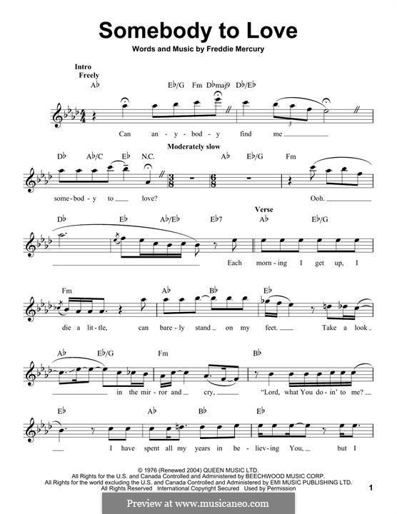 Somebody to Love (Queen): Мелодия by Freddie Mercury