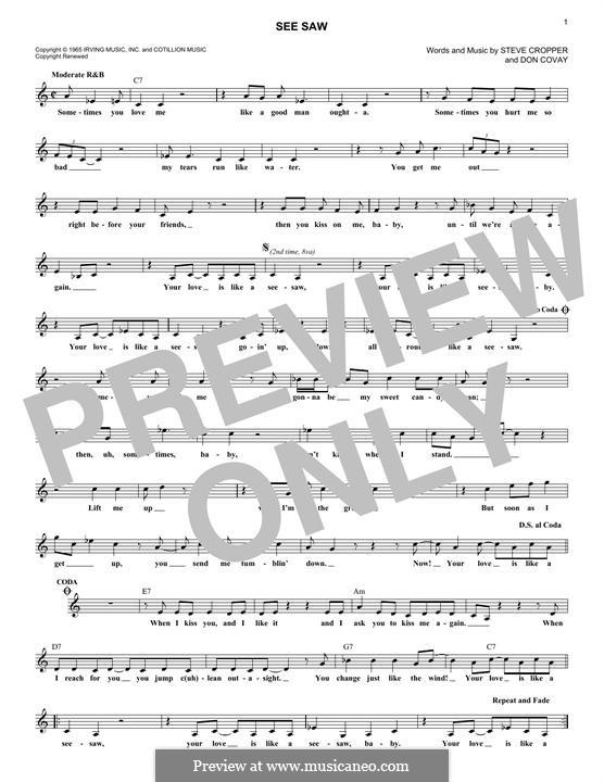 See Saw (Aretha Franklin): Мелодия by Don Covay, Steve Cropper