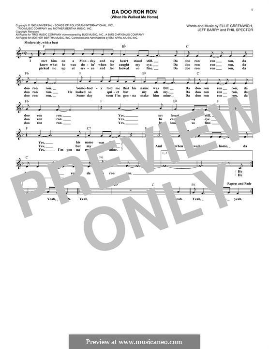 Da Doo Ron Ron (When He Walked Me Home): Мелодия by Ellie Greenwich, Jeff Barry, Phil Spector