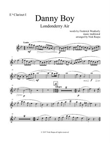 Danny Boy (Londonderry Air): For clarinet choir – E Flat clarinet part by folklore