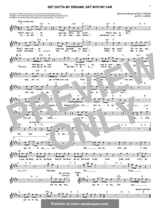 Get Outta My Dreams, Get Into My Car (Billy Ocean): Мелодия by Robert John Lange