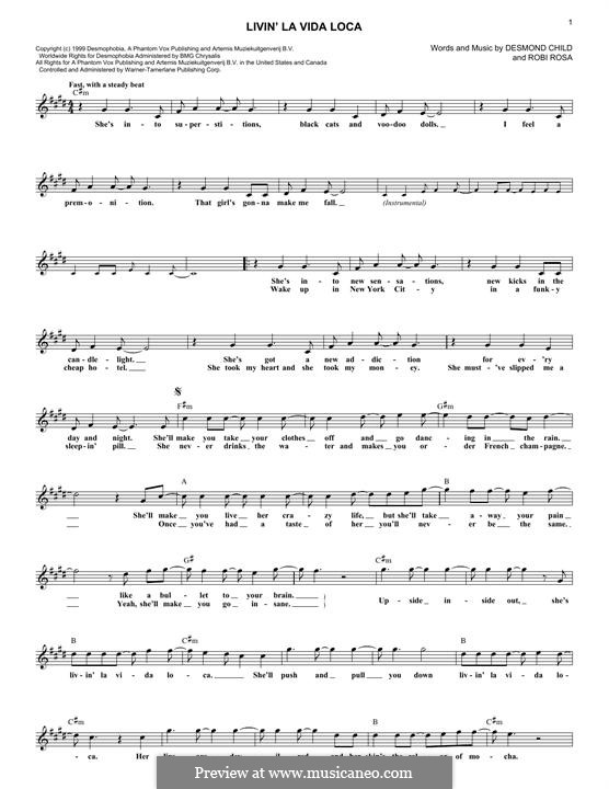 Livin' la vida loca (Ricky Martin): Мелодия by Desmond Child, Robi Rosa