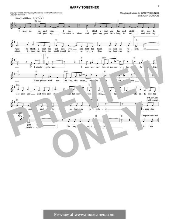 Happy Together (The Turtles): Мелодия by Alan Gordon, Garry Bonner