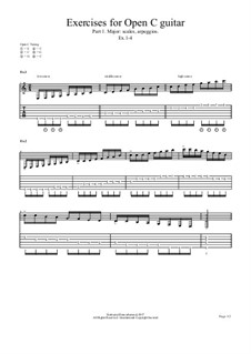 Exercises No.1 for Open C guitar: Exercises No.1 for Open C guitar by chenresi