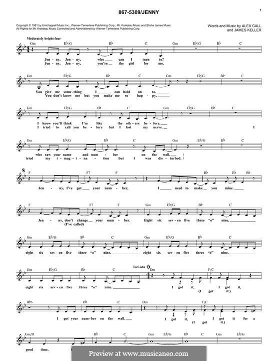 867-5309/Jenny (Tommy Tutone): Мелодия by Alex Call, James Keller