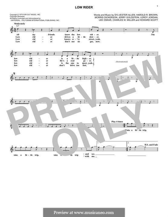 Low Rider: Melody line (War) by Charles W. Miller, Harold R. Brown, Howard Scott, Jerry Goldstein, Leroy Lonnie Jordan, Lee Oskar, Morris Dickerson, Sylvester Allen