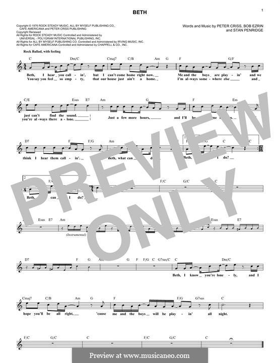 Beth: Мелодия by Bob Ezrin, Peter Criss, Stan Penridge