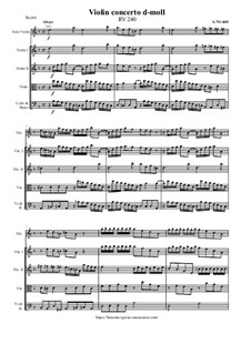 Concerto for Violin and Strings in D Minor, RV 240: Score and parts by Антонио Вивальди