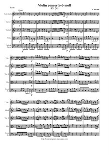 Concerto for Violin and Strings in D Minor, RV 241: Score and parts by Антонио Вивальди