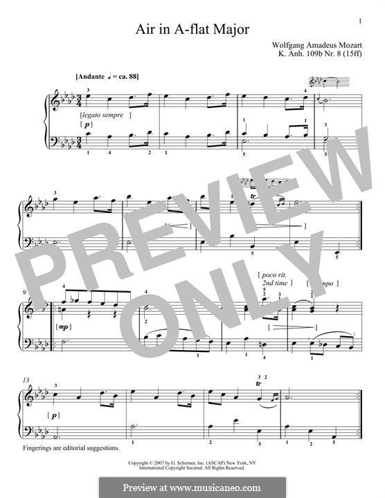 Air in A Flat Major, K.109b No.8: Для фортепиано by Вольфганг Амадей Моцарт