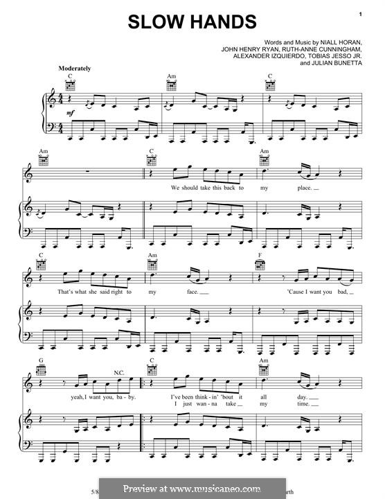 Slow Hands: Для голоса и фортепиано (или гитары) by Julian Bunetta, Ruth Anne Cunningham, Niall Horan, John Henry Ryan, Tobias Jesso, Alexander Izquierdo