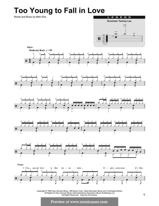Too Young to Fall in Love (Motley Crue): Drum set by Nikki Sixx