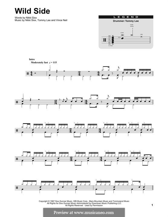 Wild Side (Motley Crue): Drum set by Nikki Sixx, Tommy Lee