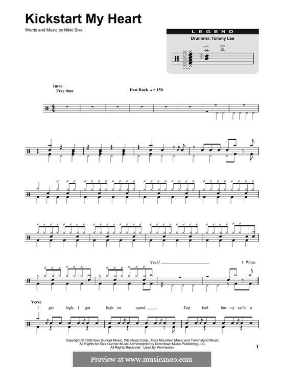 Kick Start My Heart (Motley Crue): Drum set by Nikki Sixx