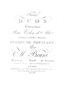Три дуэта для скрипки и альта, Op.25: Книга I by Антонио Бартоломео Бруни