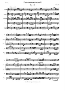 Concerto for Flute and Strings in A minor, RV 440: Score and parts by Антонио Вивальди