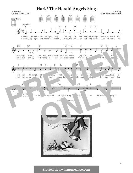 Hark! The Herald Angels Sing, for Solo Instrument: Для укулеле by Феликс Мендельсон-Бартольди