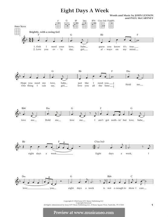 Eight Days a Week (The Beatles): Для укулеле by John Lennon, Paul McCartney
