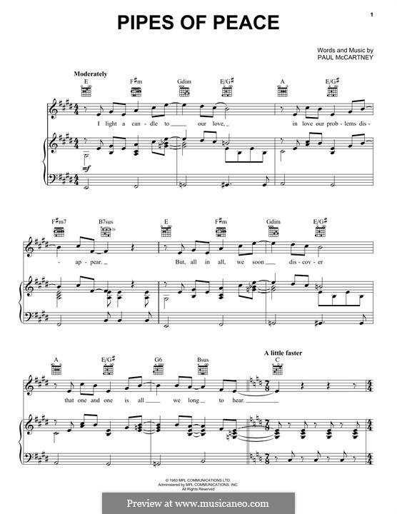Pipes of Peace: Для голоса и фортепиано (или гитары) by Paul McCartney
