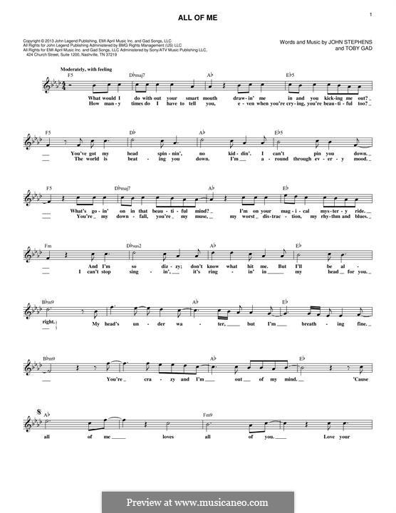 All of Me: Мелодия by John Stephens, Tobias Gad