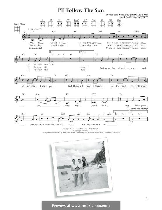 I'll Follow the Sun (The Beatles): Для укулеле by John Lennon, Paul McCartney