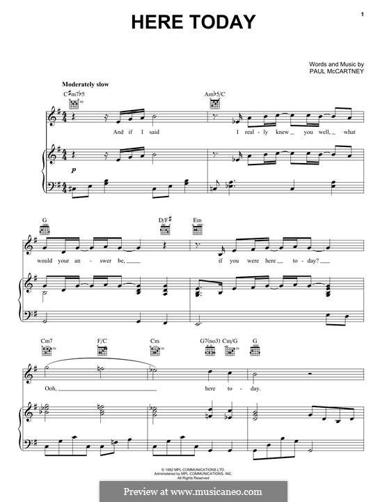 Here Today: Для голоса и фортепиано (или гитары) by Paul McCartney