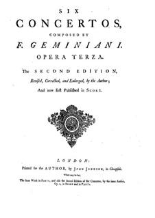 Шесть кончерти гросси, Op.3: Партитура by Франческо Джеминиани