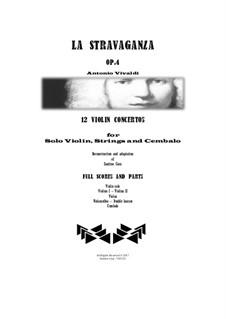 La stravaganza. Twelve Violin Concertos, Op.4: Complete set - full scores and parts by Антонио Вивальди