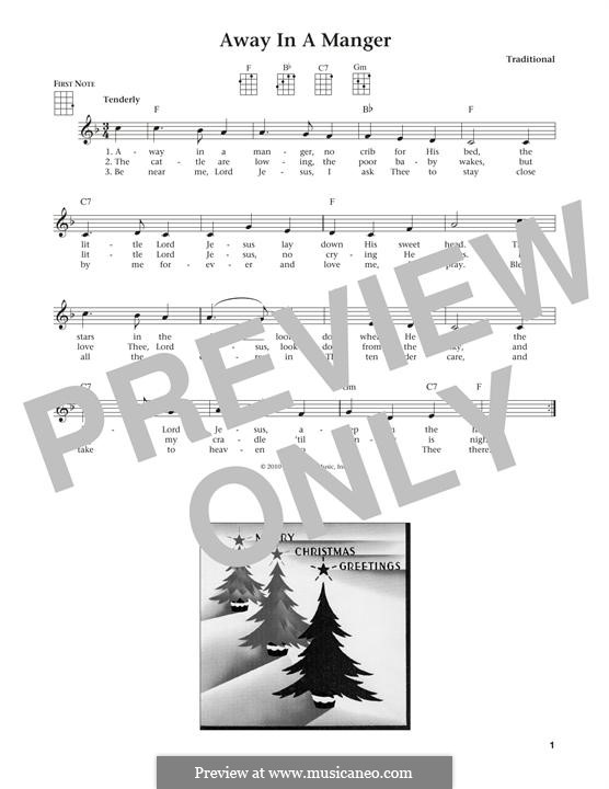 Away in a Manger (Printable Scores): Для укулеле by Джеймс Р. Мюррей