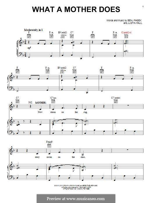 What a Mother Does: Для голоса и фортепиано (или гитары) by Justin Paul, Benj Pasek