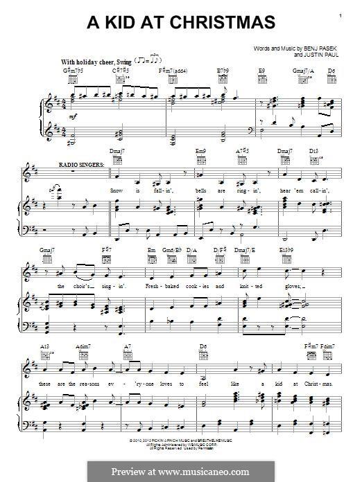 A Kid at Christmas: Для голоса и фортепиано (или гитары) by Justin Paul, Benj Pasek