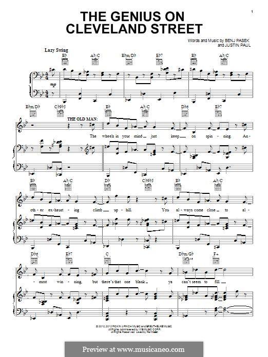 The Genius on Cleveland Street: Для голоса и фортепиано (или гитары) by Justin Paul, Benj Pasek