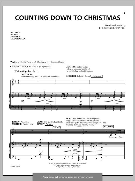 Counting Down To Christmas: Для голоса и фортепиано by Justin Paul, Benj Pasek
